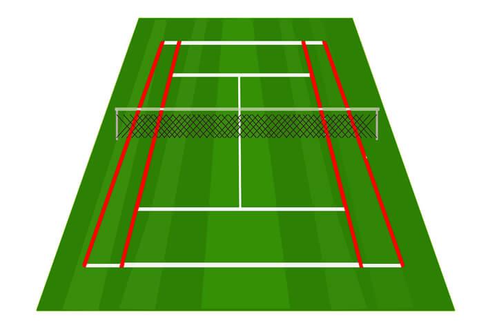 テニスコートのサイドライン